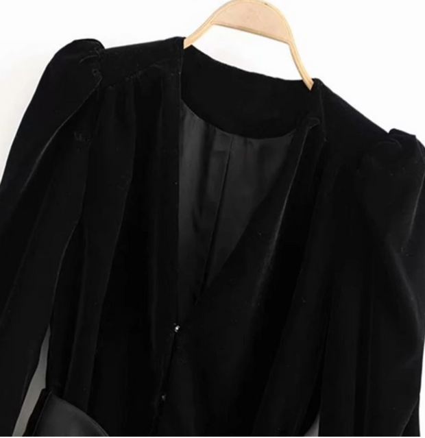 Za women's new V-neck coat in early autumn 2019 puffy long sleeve bow with velvet coat 08305793800