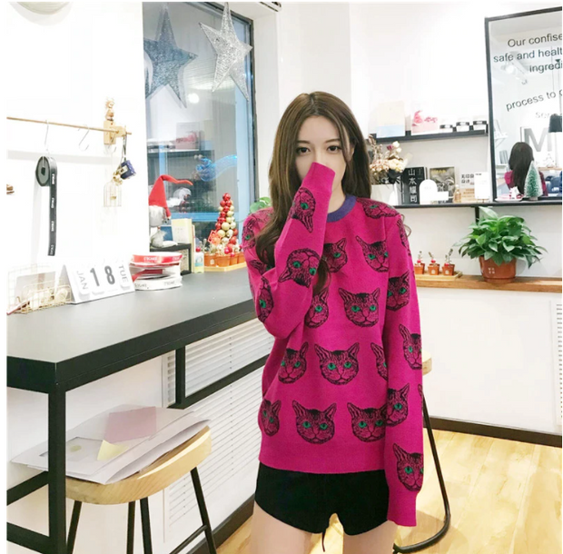 Net red sweater women's 2020 new autumn and winter bottoming knitwear Korean fashion foreign air loose cat top B-002