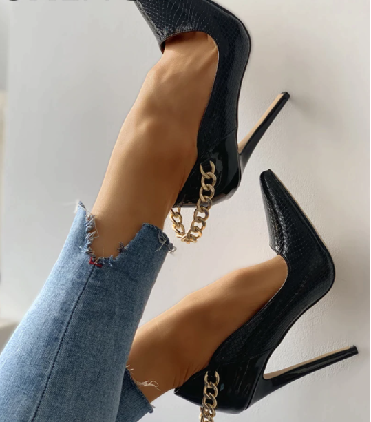 SHY Fashion Leopard Pointed Toe Metal Chain Thin Heels Snakeskin Sexy Party Women Shoes Rome Design Thin Heel Female Dress Shoes