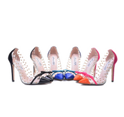 2020 New Sexy Women Pointed Toe Pumps Transparent Rivet Thin High Heel Lady Shoes Female Butterfly Bow Pumps For Work Big Size41