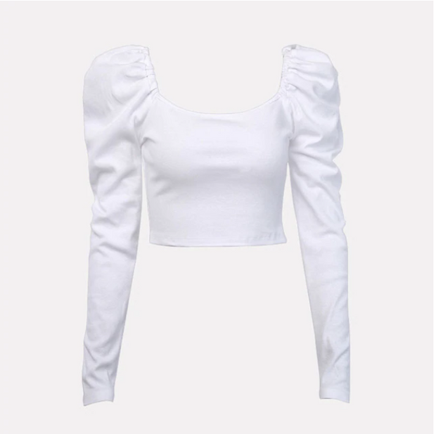 2020 Women Tshirts Autumn Pullover Crop Top Tees Long Sleeve Black White Solid Winter Short Top Tees T-shirts Women