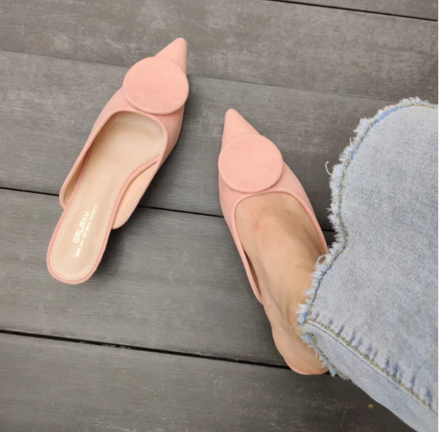 Women's Slippers 2020 New Arrivals Slip Elegant On Low Heels Pointed Toe Sandal Summer Outdoor Casual Slides Mules Women Shoes