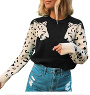 Fashion Women Animal Print Sweater 2020 New Leopard Printing O-Neck Long Sleeve Short Pullover Loose Sweater Blouse Jumper Femme