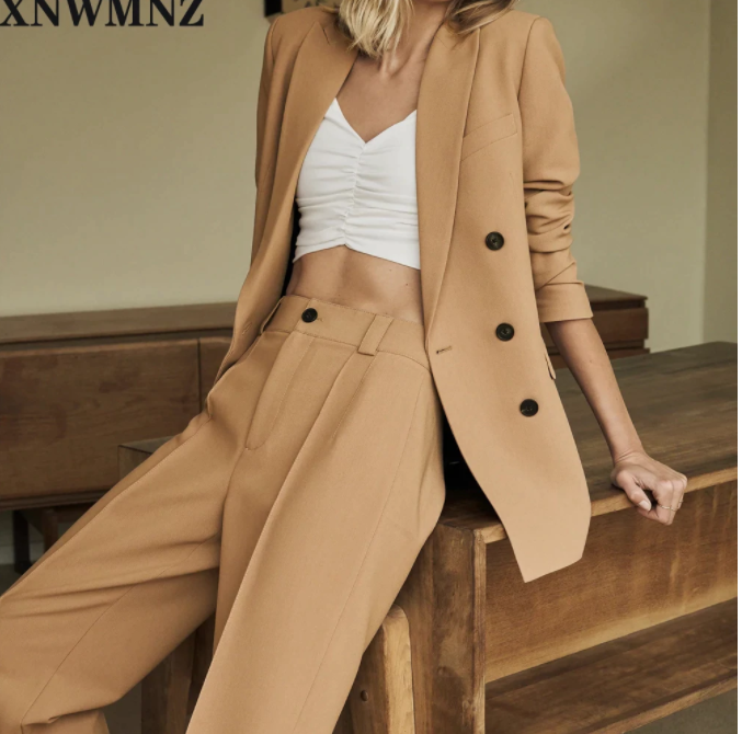 XNWMNZ Za Women 2020 Fashion Double Breasted Solid Blazer Coat Vintage Long Sleeve Pockets Female Outerwear Chic Tops