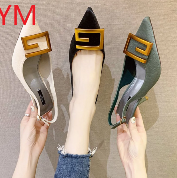Slingback Sexy Women Pumps Fashion Ladies High Heels Shoes Soft Leather Heels Shoes Woman Pointed Toe Non-slip Brand Summer 2020