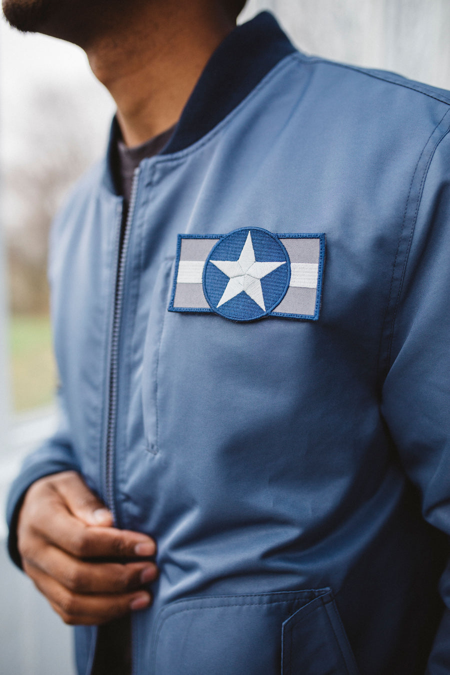 Bitching Betty Bomber Jacket Blue Rondel patch detail