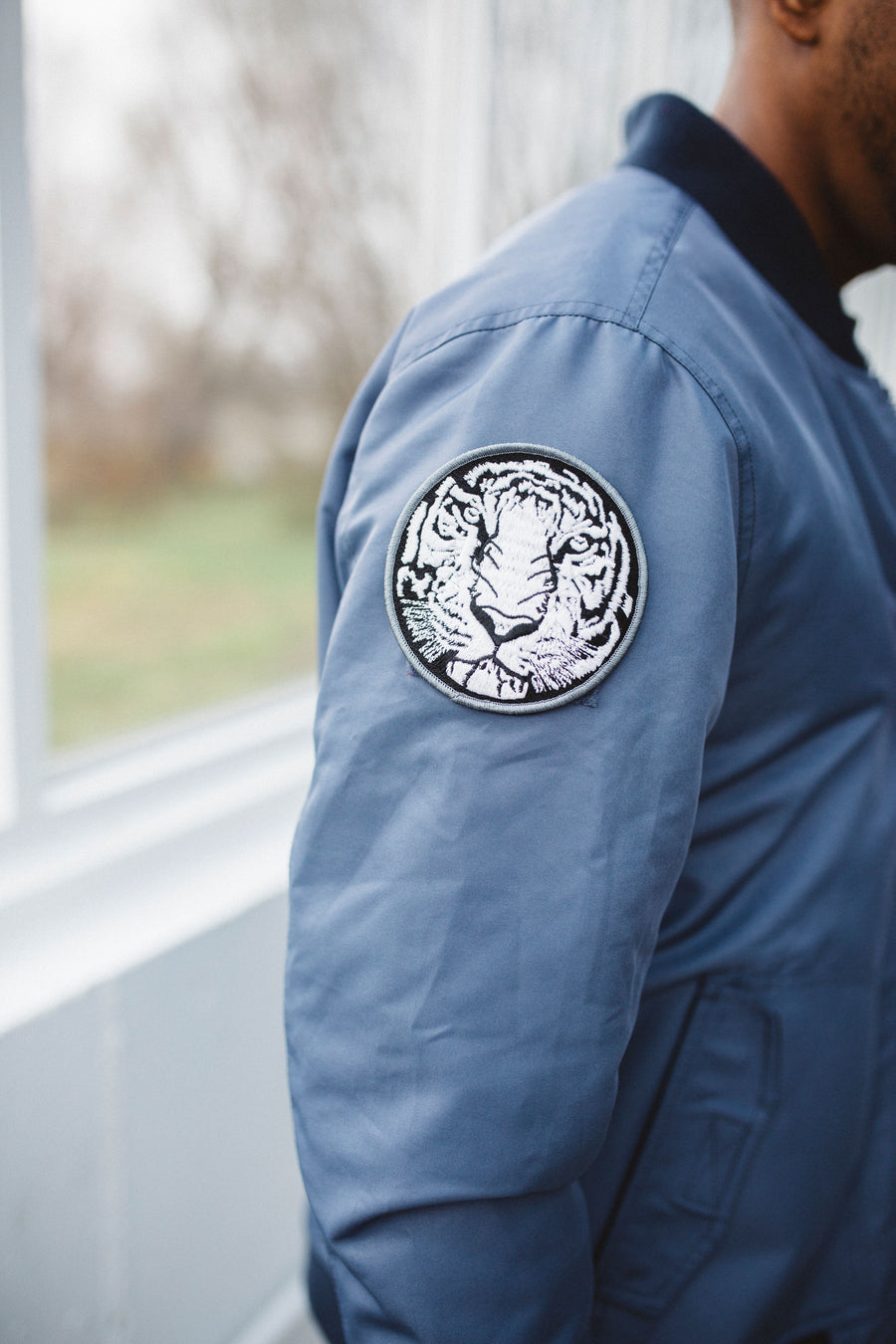 Bitching Betty Bomber Jacket White tiger patch detail