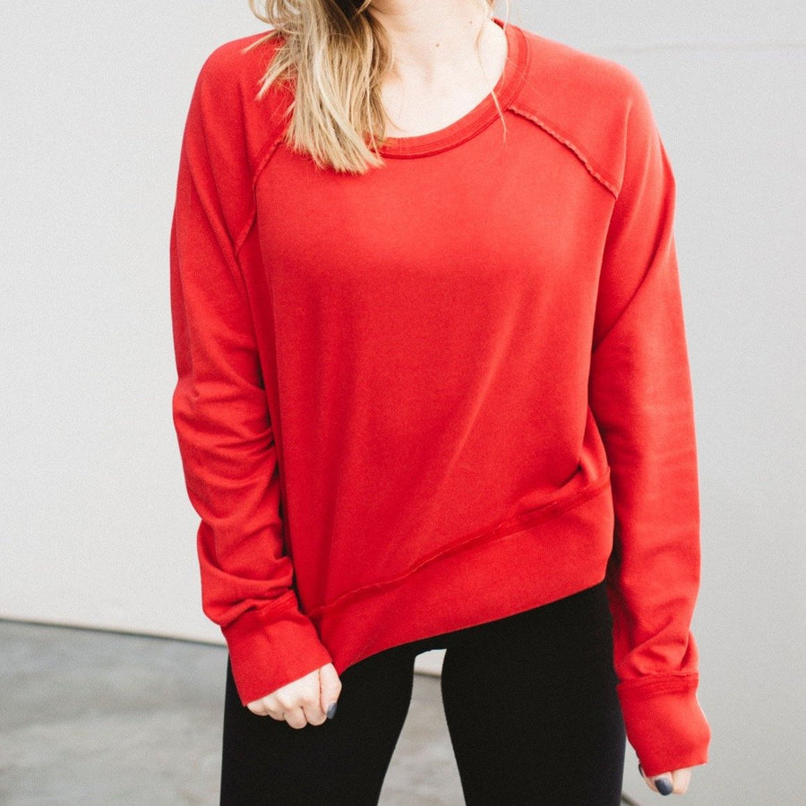 Burner Red Charlie Croppy Sweatshirt Front View