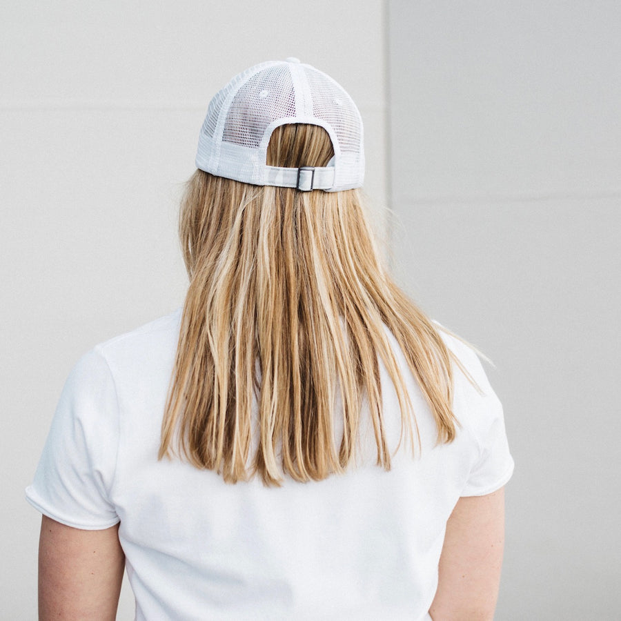 Arctic White Camo Johnnie Distressed Meshback Trucker Hat Back View