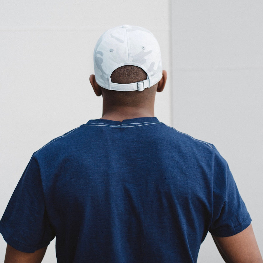 Arctic White Camo Uncle Garment Washed Baseball Cap Back View