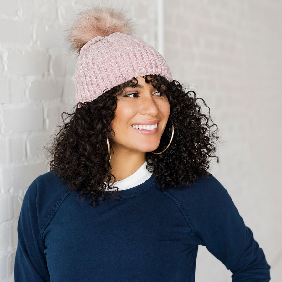 Chenille Cable Knit F-Pom Faux Fur Pom Hat Rose