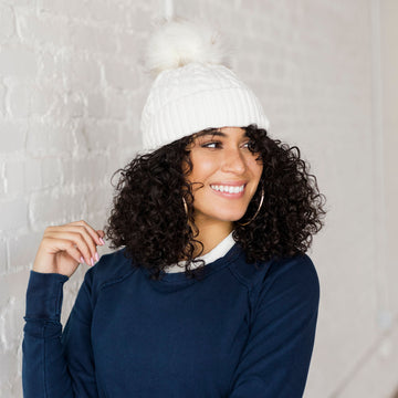 Chenille Cable Knit F-Pom Faux Fur Pom Hat Ice