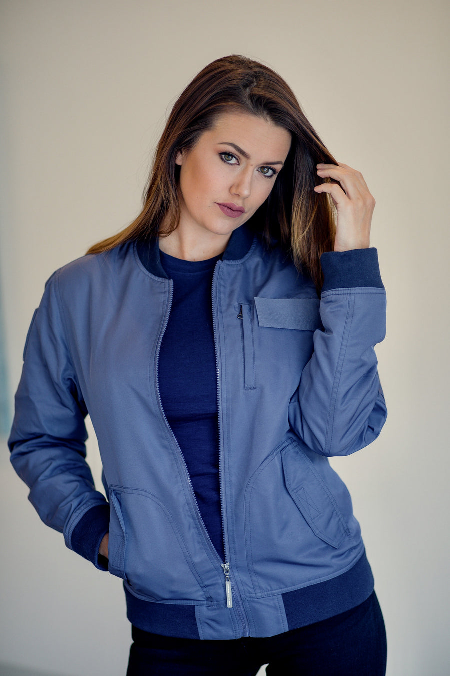 Bitching Betty Bomber Women's Jacket in Blue model front view