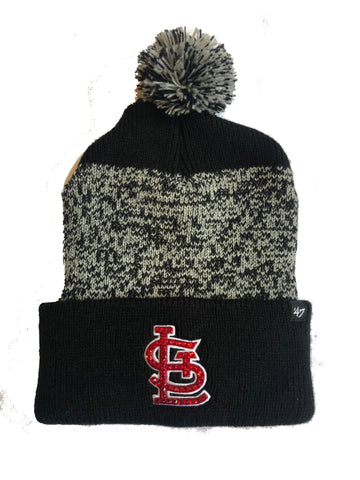 Blinged St. Louis Cardinals Beanie Knit Hat Pom Black Grey Gray