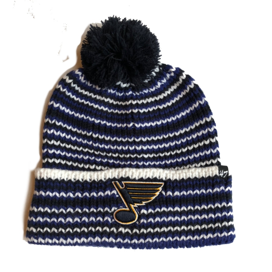Juniper Cuff Knit Blues Pom Hat