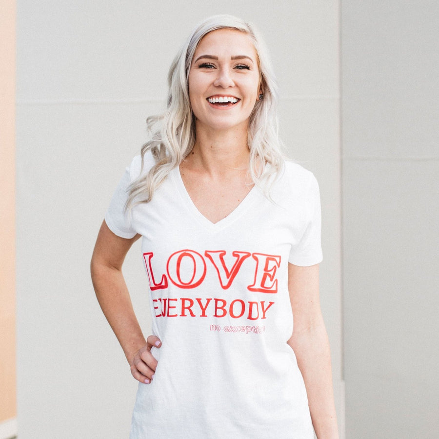 Love everybody no exceptions v neck tee Jane collection