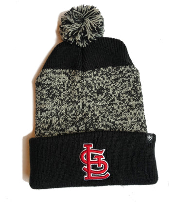 Cardinals Pom hat knit cap beanie St. Louis stl black white