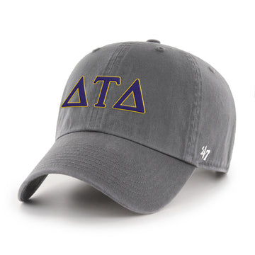 Delta tau delta '47 brand clean up hat in charcoal grey gray with purple embroidery