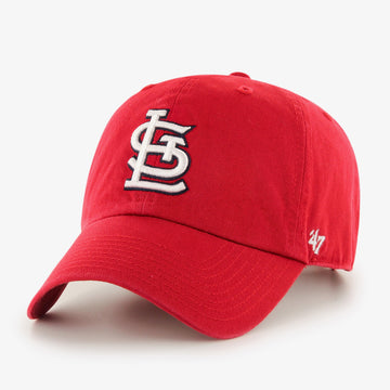 Front view: red 100% cotton '47 Brand baseball cap with front center raised STL logo embroidery in white with black outlining