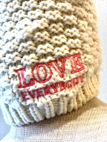 LOVE Everybody double pom beanie in ice white detail