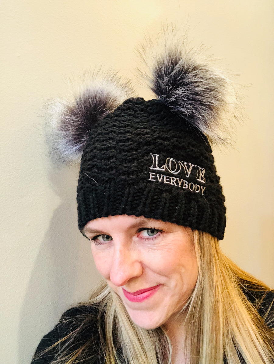 black grey love everyone beanie double pom pussy hat