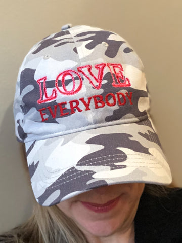 LOVE Everybody Gray Camo Cap front view