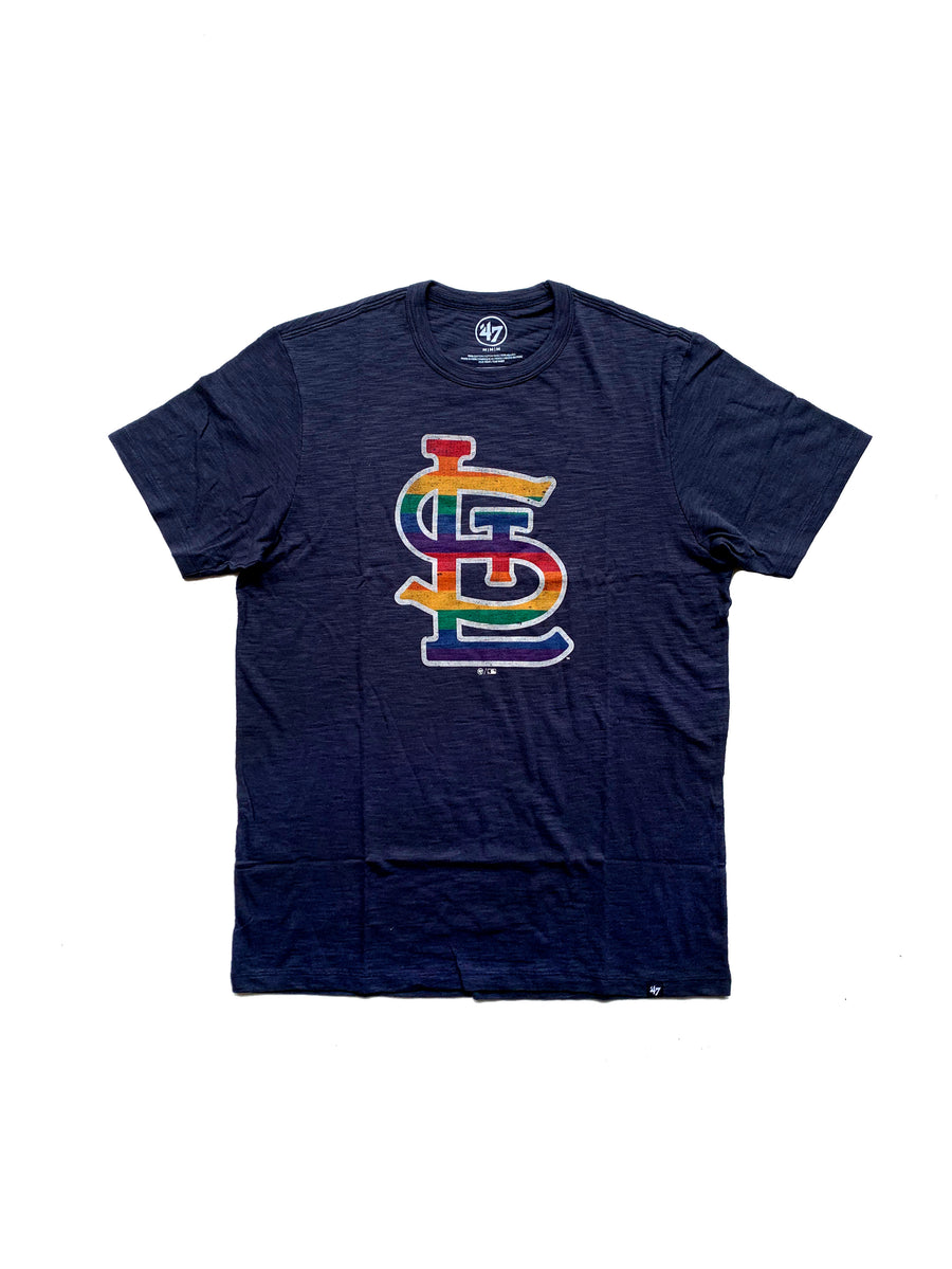 Front view St. Louis Cardinals Rainbow Pride Navy scrum Shirt with Screened STL Rainbow logo from '47 Brand made from 100% cotton scrum