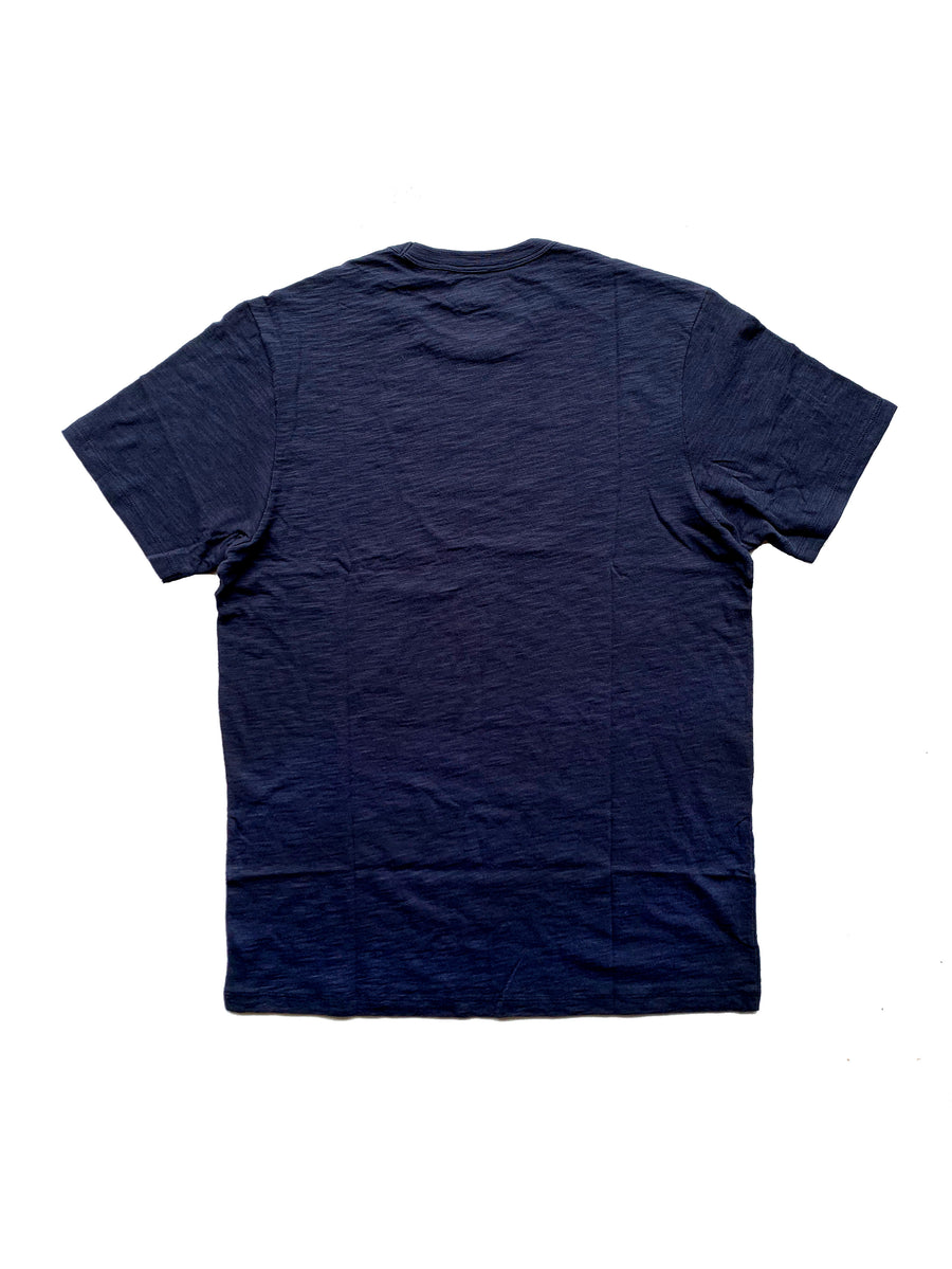 back view navy 100% cotton scrum t-shirt