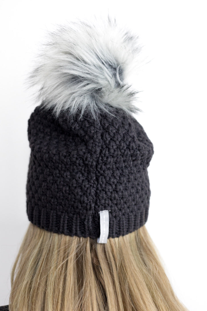 F-Pom hat in jetwash gray with arctic faux fur fox pom back view detail