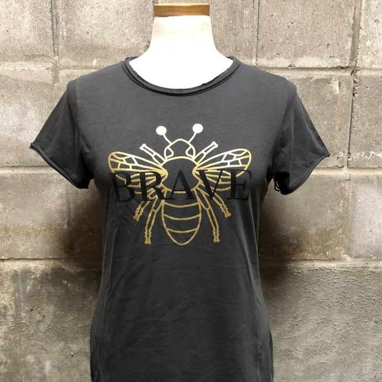 Bee Brave Tee in jetwash gray with metallic gold bee full view