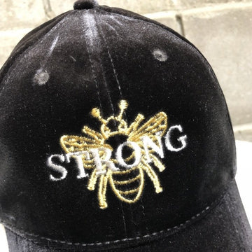 Bee Strong Velvet Hat in Weather Grey with Gold Bee and Silver embroidery