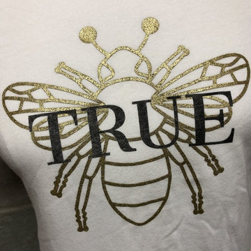Bee True Tee in ice white with metallic gold bee detail