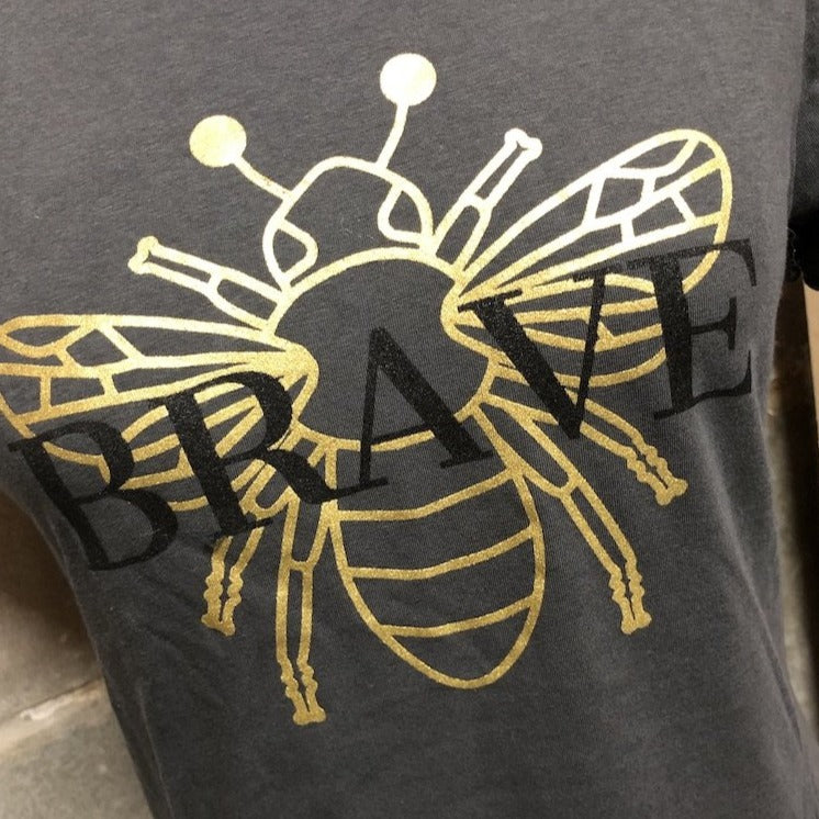 Bee Brave Tee in jetwash gray with metallic gold bee detail