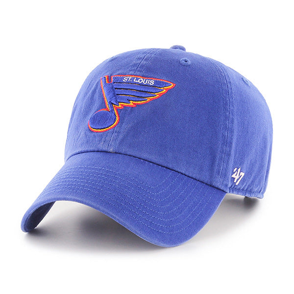 Front view: royal blue 100% cotton hat with blue retro STL Blues Blue Note with ST.LOUIS detailing in white and red/yellow outlines