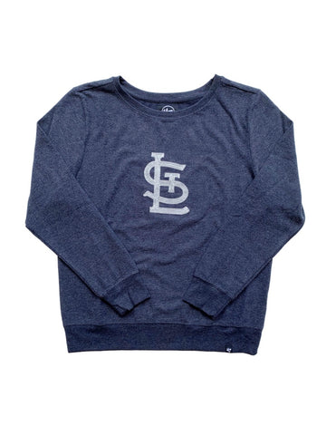 Front view: gray fleece crew neck sweatshirt with white STL screen print logo in stitch pattern