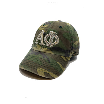 Alpha Phi '47 brand camo camouflage clean up with crystal bling