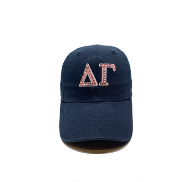 Delta Gamma Navy '47 Brand hat with pink crystal front view