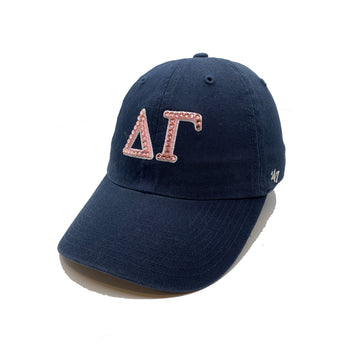 Delta Gamma Navy '47 Brand hat with pink crystal front side view