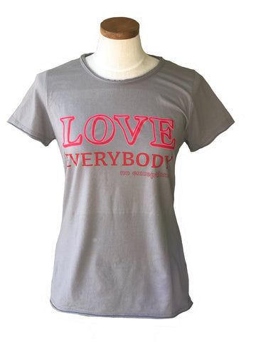 love everybody womens grey tee pink red
