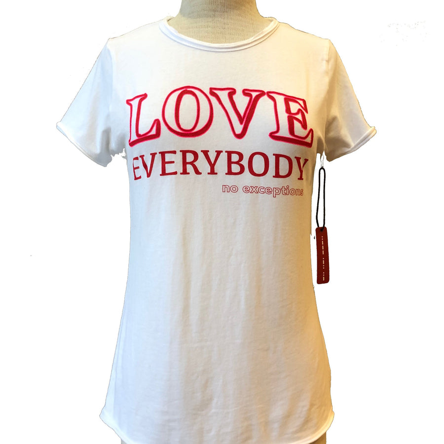 love everybody tee in ice white full view