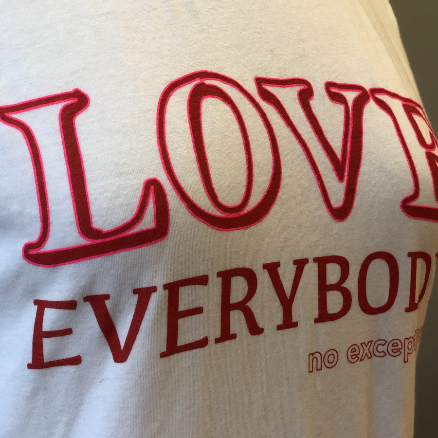 love everybody no exceptions art image tee white ladies