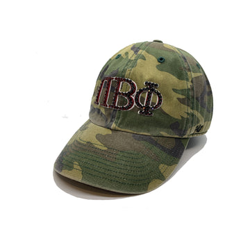 Pi Beta Phi '47 brand camo camouflage clean up hat with crystal bling