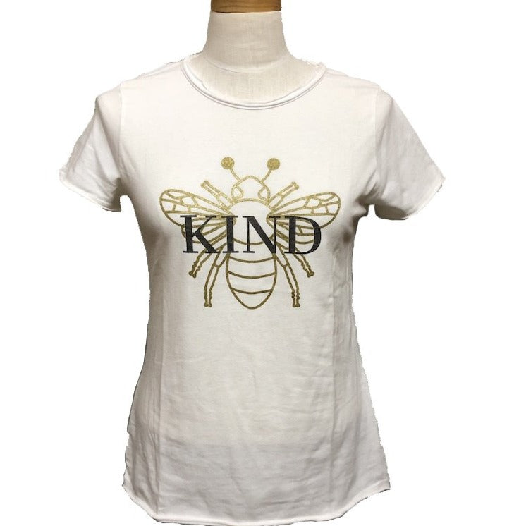 Bee Kind Tee in ice white with metallic gold bee full view
