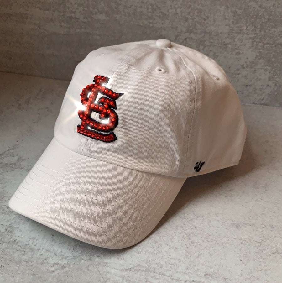 White STL Bling Hat with Red Swarovski Crystal st louis cardinals
