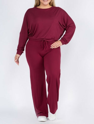 Plus Drawstring Wide-Leg Lounge Pants Set