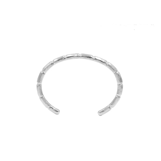 Blake Bamboo Bangle Silver Mens