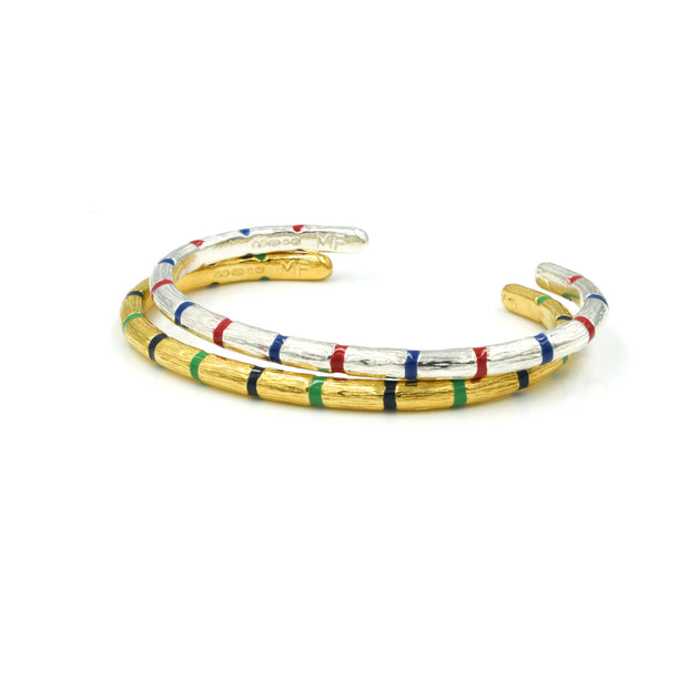 Blake Bamboo Bangle Stripe Silver Mens