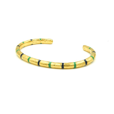 Blake Bamboo Bangle Stripe Gold Mens