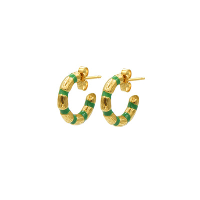 Blake Bamboo Mini Hoops Emerald