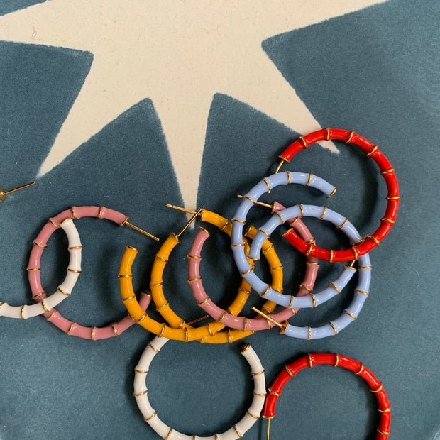 Solange Bamboo Hoops Blue